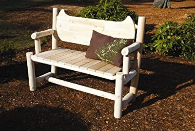 Rustic Natural Cedar Furniture 010006C Outdoor and Patio Canoe Back Bench, Natural