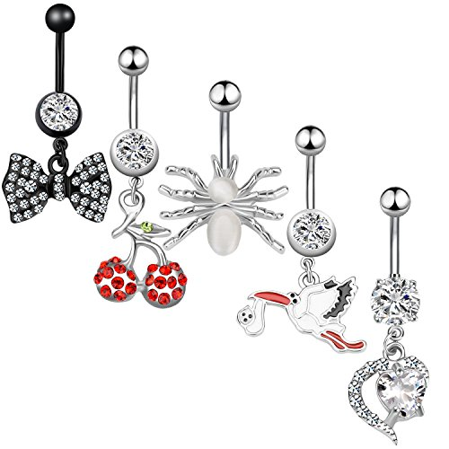 - 5Pcs Dangle Belly Button Rings Set Navel Surgical Stainless Steel 14G Body Piercing Jewelry