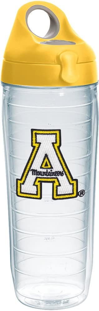 Tervis Appalachian State Mountaineers Insulated Tumbler with Emblem and Yellow Lid, 24oz Water Bottle, Clear