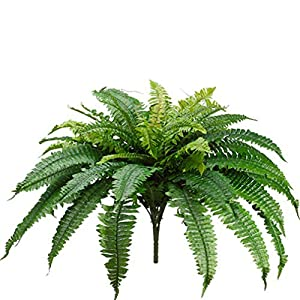 One 25 Inch Long Silk Artificial Boston Fern Bush 40 Inch Spread Plant 48 Branches 52