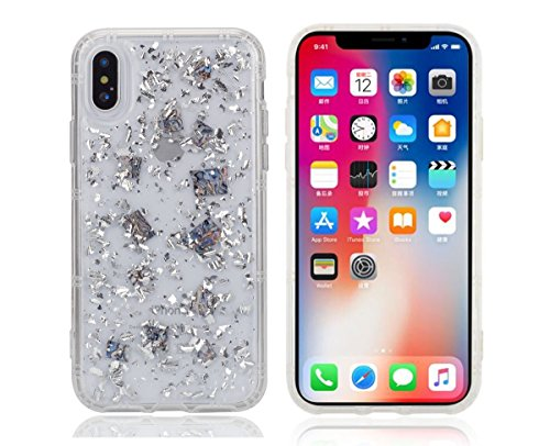 iPhone X Gliter Case,Vercrown Luxury Glitter Sparkle Bling Anti Gravity Case[Gold Foil Embedded] Flexible Soft Reinforced Corners TPU Protective Bumper Cover for iPhone (Halloween Sparkle)