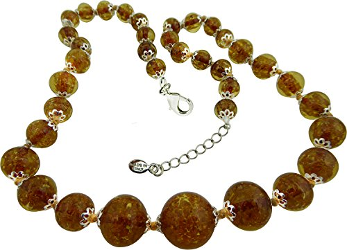 (Authentic Venetian Graduated Necklace,Transparent Golden Brown Glass Murano, 20 Inch + 2 Inch Extension, Silver Tone)