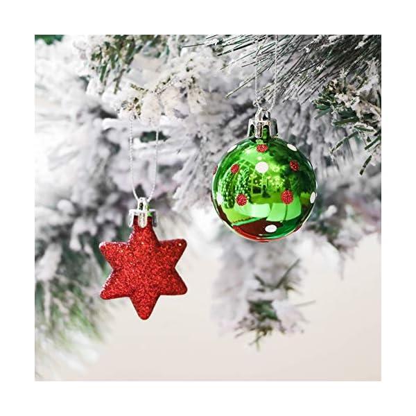 Victor's Workshop Addobbi Natalizi 35 Pezzi 5cm Palle di Natale per Albero, Delizioso Elfo Rosso Verde e Bianco Infrangibile Palla di Natale Ornamenti Decorazione 4 spesavip
