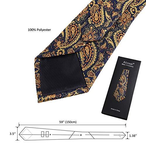 homme Vineux cravate Pochette Alizeal or Rouge Paisley Alieal De motif 58qw6g1w