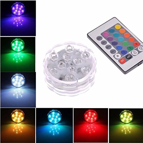 Tuscom Submersible 10 LED Waterproof Light RGB for Vase Wedding Party Fish Decors