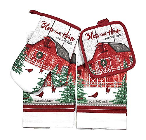 (Whiskey Mountain Holiday Farmhouse Kitchen Towel and Pot Holder Set: Country Red Barn in Winter with Cardinals)