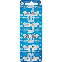 Pack of 10 Renata batteries, All sizes avail including 321, 364, 371, 373, 377, 379, 393, 394, 395, CR1216, CR1220, CR1616, CR1620, CR1632, CR2016, CR2025, CR2032, CR2325, CR2430, CR2450 and more (364)