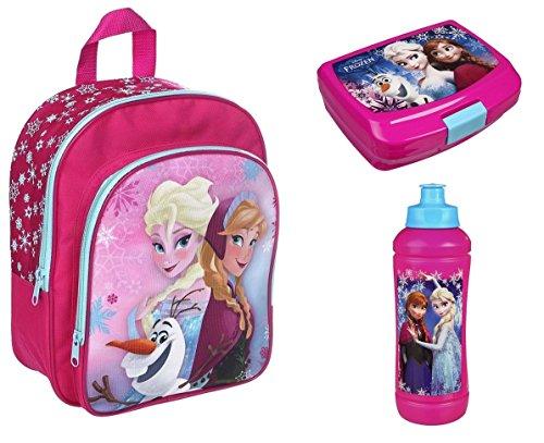 FRQA7601 Disney`s Eiskönigin 3tlg. Set Rucksack mit Brotdose und Trinkflasche z.B. für den Kindergarten