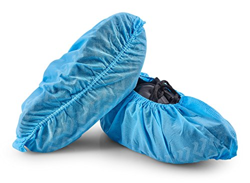 HouseHold Impressions 110 Pack Extra Thick Large Disposable Blue Shoe & Boot Covers for Indoor/Outdoor & Traveling | 55 Pairs of Non-Slip Booties for Home, Medical, & Workplace | One Size Fits Most
