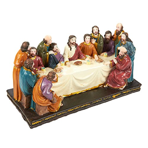 12 Disciples Supper Last (Juvale Religious Statues - The Last Supper Statue Figurine, Christian Decoration for Home and Office, Ideal for Religious and Festive Celebrations, Hand-Painted, 8.0 x 4.2 x 3.3 Inches)