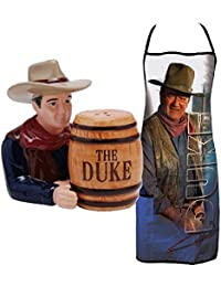Get (Set) John Wayne The Duke Barrel Salt & Pepper Shakers and Grilling Apron deliver