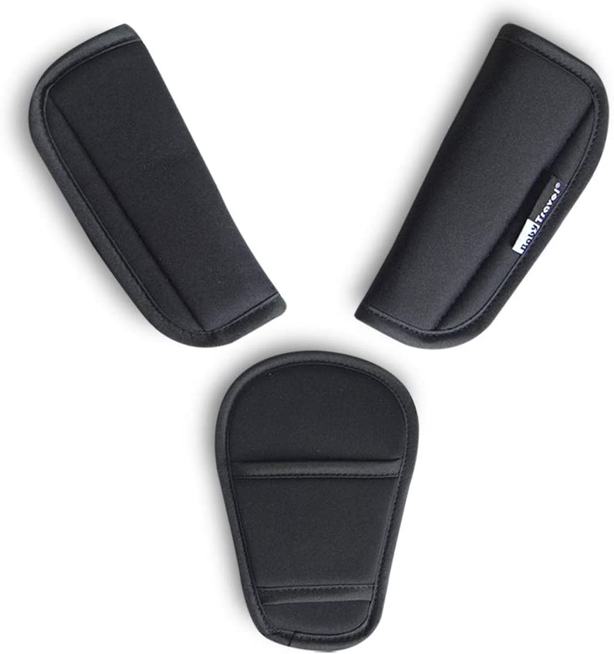 3 piezas Carrito de bebé Cubiertas de correa de asiento de carro Almohadilla de la entrepierna Cojín universal suave para cinturón de seguridad para recién nacidos (3 piezas)