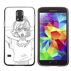 LECELL--Funda protectora / Cubierta / Piel For Samsung Galaxy S5 SM-G900 -- Sketch White Black Anime Asian Girl --