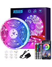 JESLED LED Strip Lights, 5M Smart Wifi LED Light Strips for Bedroom Works with Alexa & Google App, Color Changing RGB LED Lights with 44-Key Remote, Gaming & Living Room, Home, Kitchen Decorations…