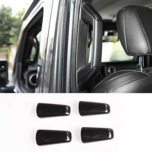Nkcar ABS Carbon Fiber Car A/B-Pillar Handle Decoration Cover 4pcs for Jeep Wrangler JL 2018+ (2-Doors) ()