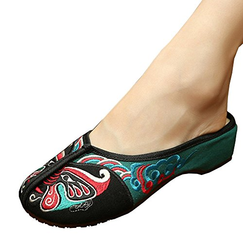 Fereshte Chinese Opera Embroidery Wedge Casual Walking Shoes for Women Girls Green and Black EU 36 - US (Dance Costumes From China)