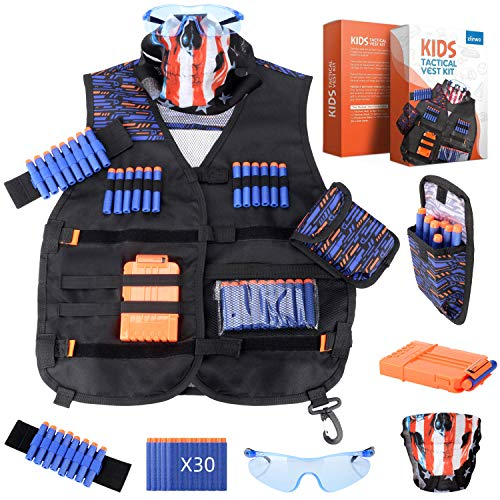 zizwe Kids Tactical Vest Kit for Nerf Guns N-Strike Elite Series with Tactical Mask, Reload Clips, Wrist Band, Dart Pouch,Safety Protective Glasses and Foam Bullets Darts for Boys (Black) (Ak47 Ammo Clip)