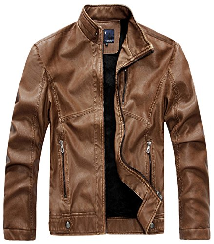 Leather Collar Men's Stand Vintage Pu brown Rzqm888 Jacket Chouyatou zqTBp1XWw