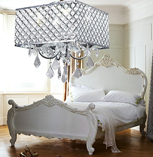 New Galaxy 4-Light Chrome Finish Square Metal and Crytal Shade Crystal Chandelier Pendant Hanging Ceiling Fixture