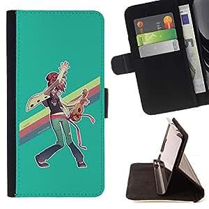 Momo Phone Case / Flip Funda de Cuero Case Cover - Pintura del arco iris LGBT Ukulele Hippie Arte - Apple Iphone 5C