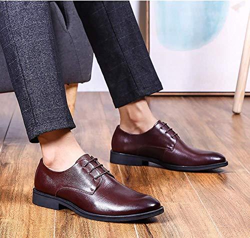 los para los Zapatos Negocios Marrón 5 US Formal Hombres Hombres pie de del Cordones Vestido de del de Cuero 7 tamaño 5 UK Lisos HhGold del Color del 8 Negro Dedo Vestido dqXHRww