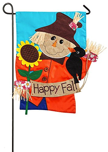 Evergreen Happy Fall Scarecrow Applique Garden Flag, 12.5 x 18 inches