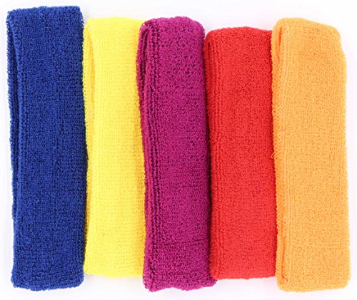 - LeBeila Sweat Headbands for Women - 5 Pack Cotton Sweatbands for Women Elastic Yoga Headbands, Women's Non Slip Headband Sweatband for Sports, Workout Or Running, Sweat Headwear Bands (Set 4, 5PCS)