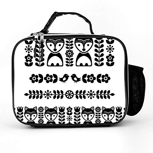 - Atunme Removable Shoulder Reusable Scandinavian Folk Art Pattern Black Long Stripe Lunch Bag, Tote Outdoor Travel Picnic Carry Case Lunchbox With Zipper For Womens Mens Boys Girls