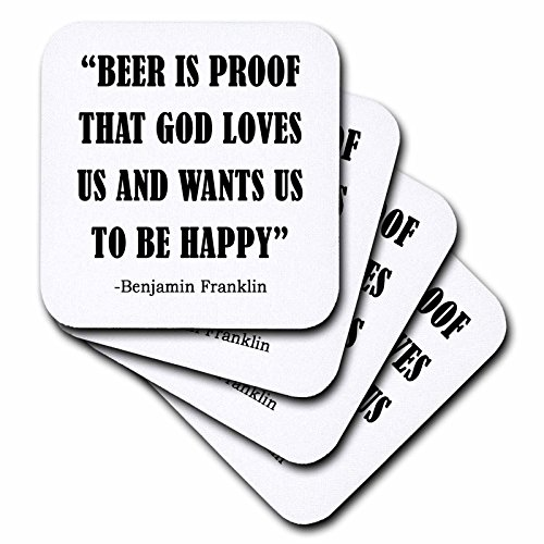 3dRose Tory Anne Collections Quotes - BEER IS PROOF THAT GOD LOVES US AND WANTS US TO BE HAPPY - set of 4 Ceramic Tile Coasters (cst_237269_3) ()