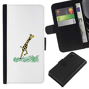 Sony Xperia Z3 D6603 / D6633 / D6643 / D6653 / D6616 , la tarjeta de Crédito Slots PU Funda de cuero Monedero caso cubierta de piel (Funny - Giraffe Comic)