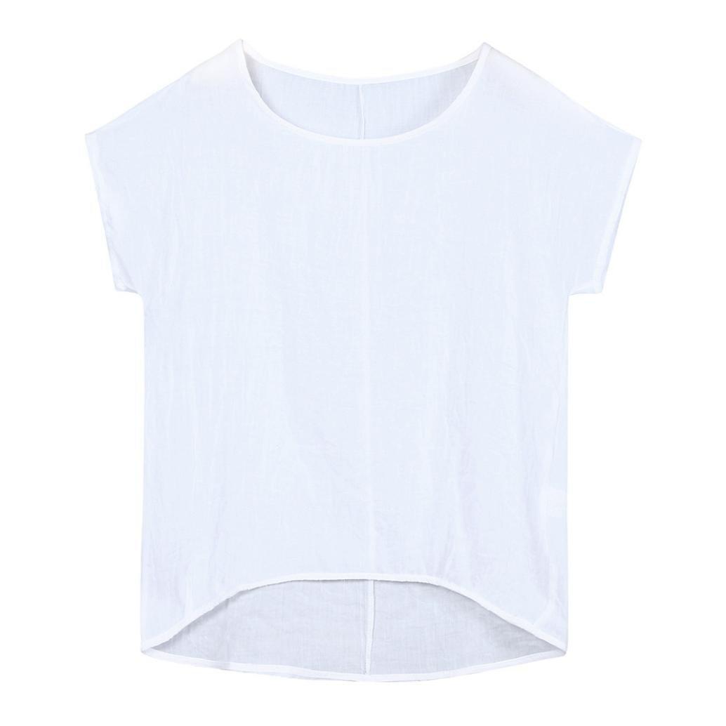 Short Sleeve Shirts For Women Short Sleeve Tunics For Women Cotton Linen Tops For Women (White,large)