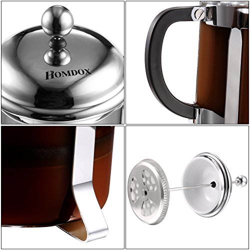 Homdox French Press Coffee &Tea Maker Espresso with Heat Resistant Glass and Stainless Steel ...