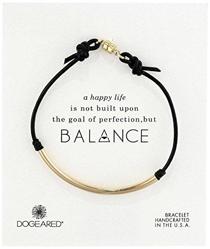 Dogeared Balance Black Leather Bracelet