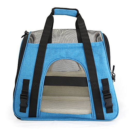 Airline approved soft-sided pet carrier.