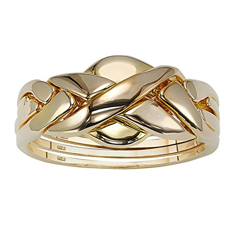 18k Gold over .925 Sterling Silver Puzzle Ring