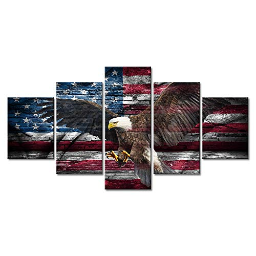 - Retro USA American Flag Bald Eagle US Military Canvas Rustic Prints Wall Art Vintage Thin Blue Line Home Decor Pictures for Living Room 5 Panel Large Poster Painting Framed Ready to Hang(60
