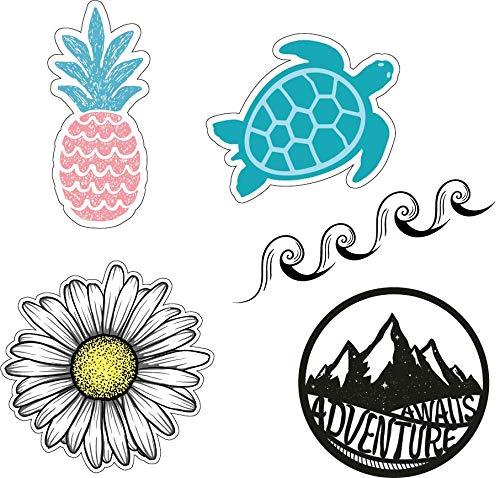 Cute Laptop/Water Bottle Sticker Pack for Teens, Kids, Girls and Boys - Hydro Flask Decal Stickers - Wave/Ocean/Beach/Pineapple/Turtle/Summer Vinyl Stickers Theme and Design