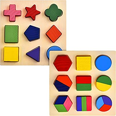 Skylety 2 Sets of Shapes Wooden Chunky Puzzle Kindergarten