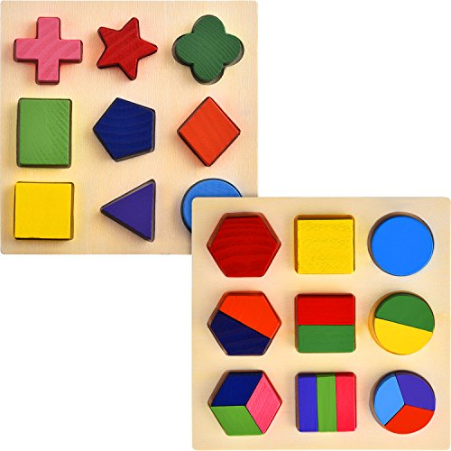 Geometric Shapes Puzzle - Skylety 2 Sets of Shapes Wooden Chunky Puzzle Kindergarten Geometric Shape Puzzles Sorting Game Early Development Educational Toys