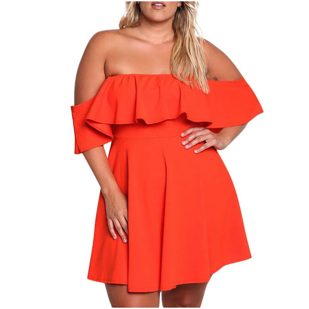 LIM&Shop Women Plus Size Off The Shoulder Scallop Hem Party Short Dresses Summer Tunic Casual Mini Dress Sundress Swing Red by LIM&SHOP-Women Dresses