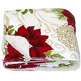 Better Homes & Gardens Sherpa Fleece Christmas Poinsettia Plush Throw Blanket