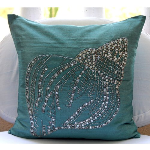 Designer-Teal-Blue-Pillow-Covers-Decorative-Sea-Shell-Ocean-and-Beach-Theme-Pillows-Cover-Square-Silk-Decorative-Pillow-Cover-Floral-Mediterranean-Pillow-Cover-Crystal-Sea-Shell
