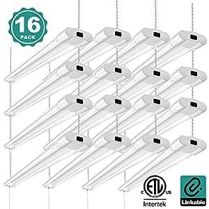 Linkable 40W Utility LED Shop Lights for Garage Addlon 4FT 4000Lumens 5000K High Brightness 4ft Led Light Fixture with Pull Chain for Garages Workshop Basement Warehouses 16 pack