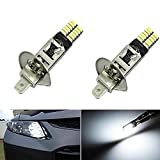 KATUR 6500K 24-SMD-4014 2x H1 LED Replacement Bulbs For Car Fog Lights Daytime Running Light For Auto