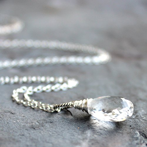 Crystal Quartz Necklace Sterling Silver Faceted Clear Gemstone Briolette Pendant 18 Inch Length ()