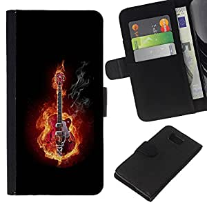 LECELL--Cuero de la tarjeta la carpeta del tirón Smartphone Slots Protección Holder For Samsung ALPHA G850 -- GUITARRA EN FUEGO Y HUMO --