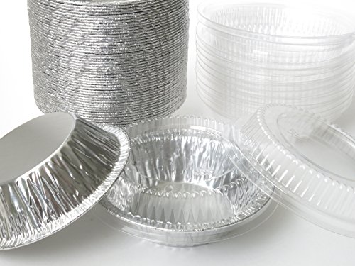 Disposable Aluminum 5'' Tart Pan/individual Pie Pan w/ Clear Dome Lid #501P (500) by KitchenDance (Image #1)