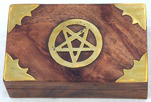 Thorness Distressed Wooden Treasure Chest Trinket Box with Pentagram Detail - Pentagram Treasure Chest