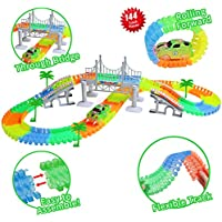 ZiChuangWen Track Toys Race Tracks with 144 Pieces Flexible Tracks Car Track with one Flashing LED Race Car,4 Trees,2 Slopes,1 Hanging Bridge for Children's Gift