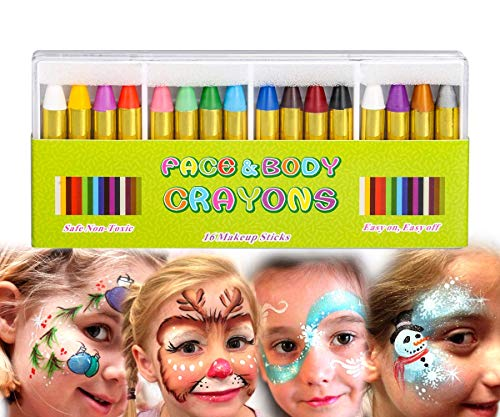 (Painting Face kit Crayons, Muscccm 16 Colors Non-toxic Makeup Face Paint Sticks Body Tattoo Crayons Kit for Kids, Children, Toddlers, Party,)